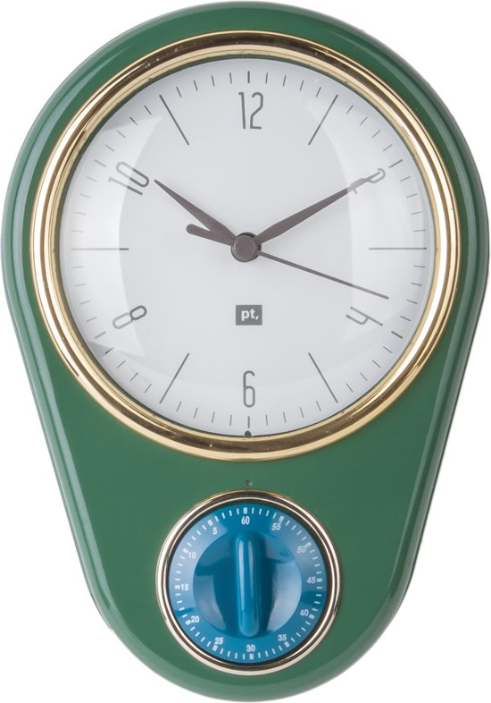 Wall clock Retro w. kitchen timer dark green