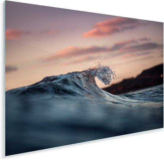 Kleine golf breekt in de zee Plexiglas 90x60 cm - Foto print op Glas (Plexiglas wanddecoratie)