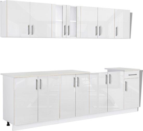 bol com   Keukenkastjes met kastje onder spoelbak hoogglans 260 cm (wit    8 stuks)