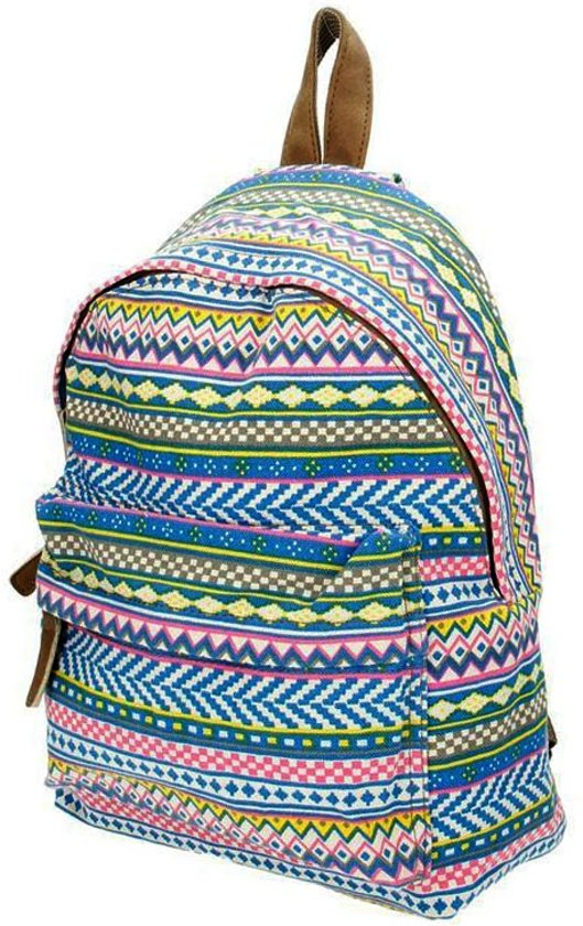Beagles Canvas kinderrugzak School Tas Neon Aztec 2-6 jaar