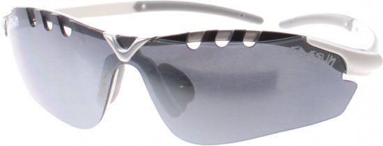Eassun fietsbril X-Light Sport wit spiegelend grijs glas