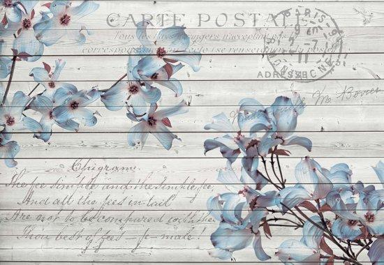 Fotobehang Flowers Wood Pattern Vintage    M - 104cm x 70.5cm   130g/m2 Vlies