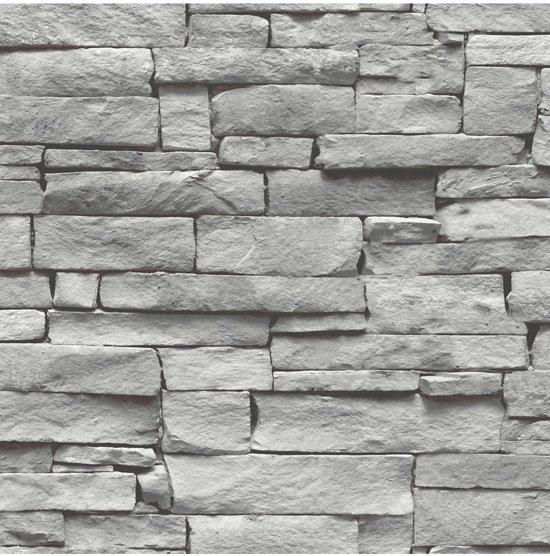 bol | vintage stenen grijs behang (vliesbehang, grijs)