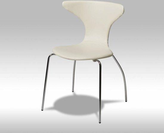 Bol solliden saka eetkamerstoel pu leer wit set van stoelen