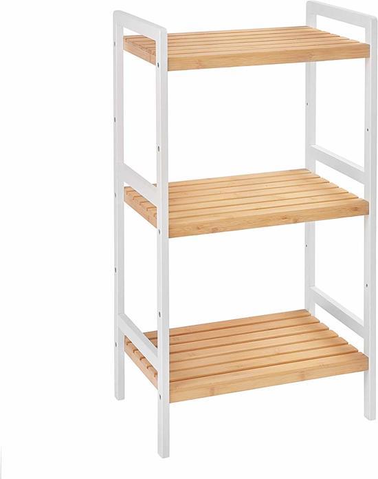   3 Laags Multifunctioneel Bamboe Opbergrek te gebruiken in: Woonkamer, Keuken, Slaapkamer of Hal   Schoenenrek / Keukenrek / Opbergrek   Afm.  45 x 31,5 x 80 cm   Kleur: Wit / Bamboe