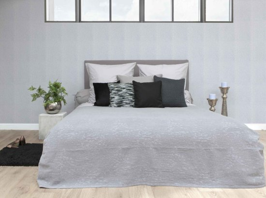 HnL Living Gipsy - Bedsprei - Perkal -  180 x 260 cm  - Silver