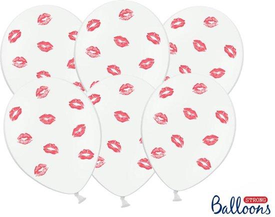 Ballonnen wit Lippen rood 50 stuks