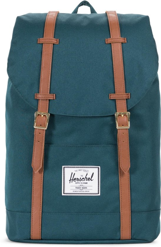 26a8b88e7a4 Herschel Supply Co. Retreat Rugzak - Deep Teal   Tan Synthetic Leather