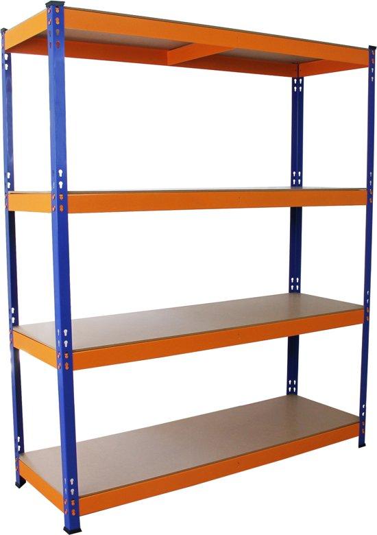 Monster Racking S-Rax Warehouse Storage Shelving, Blue/Orange, 150cm W, 50cm D