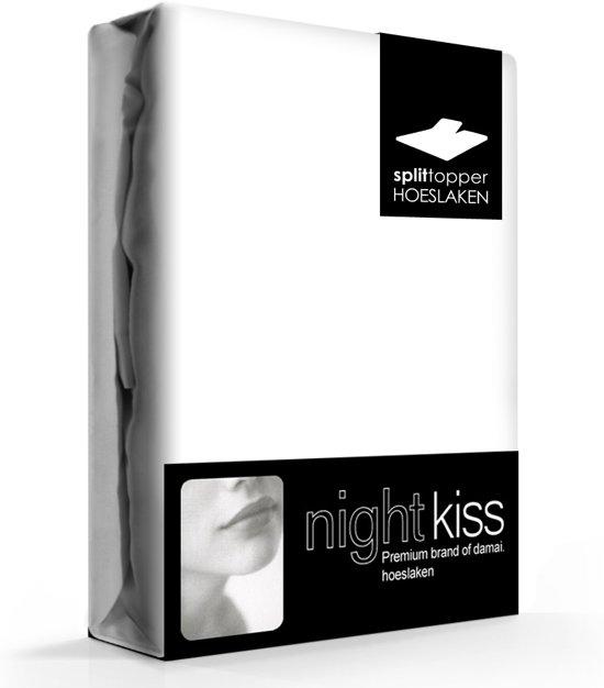 Topcover katoen 180 x 220 (01) white BI-inkeping enkel (tot 8 cm) Nightkiss