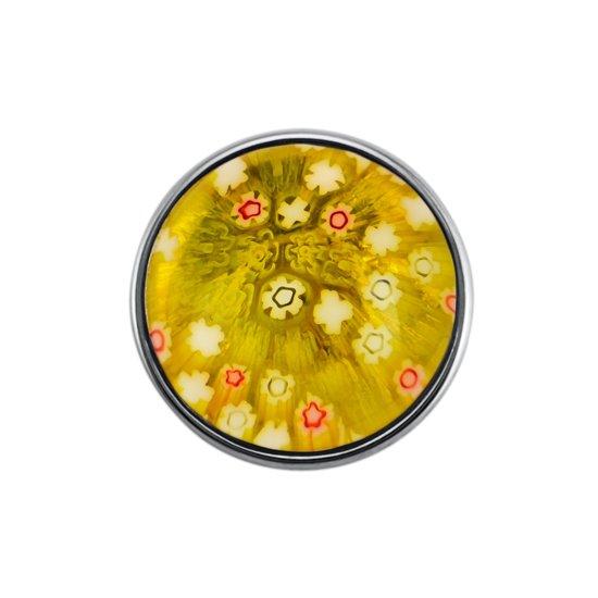 Quiges - Drukknoop 18mm Bloemen Geel - EBCM188