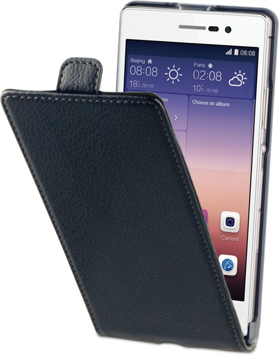 BeHello Flip Case voor Huawei Ascend P7 - Zwart in Espel
