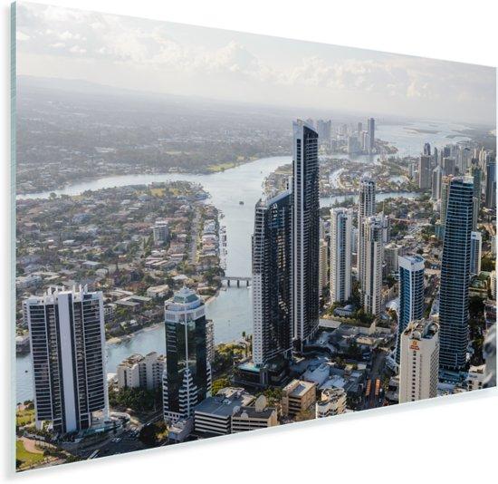 Uitzicht over stadshorizon van Gold Coast in het Australische Qeensland Plexiglas 180x120 cm - Foto print op Glas (Plexiglas wanddecoratie) XXL / Groot formaat!