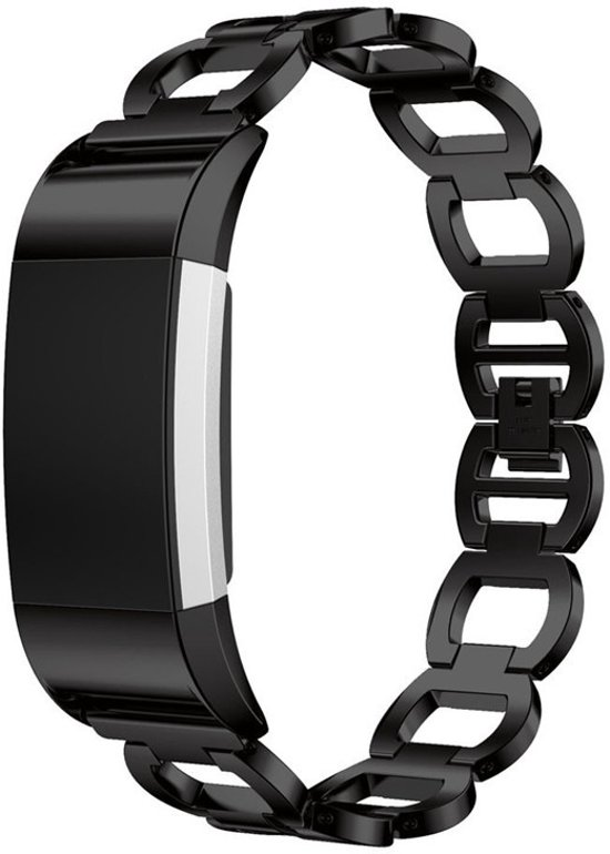RVS Horloge Band Voor Fitbit Charge 2 - Watchband - Strap Armband - Polsband -  Large - Zwart
