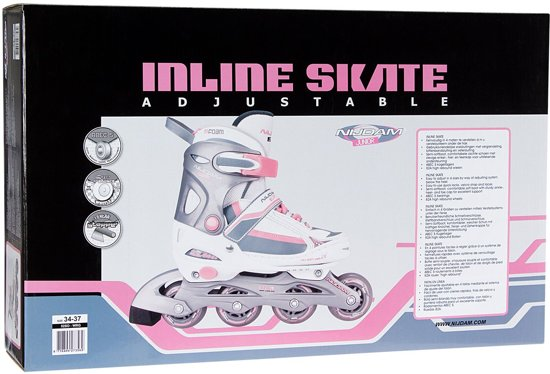 Nijdam Junior Inlineskates Meisjes Verstelbaar - Semi-Softboot - Wit/Roze/Grijs - 30-33