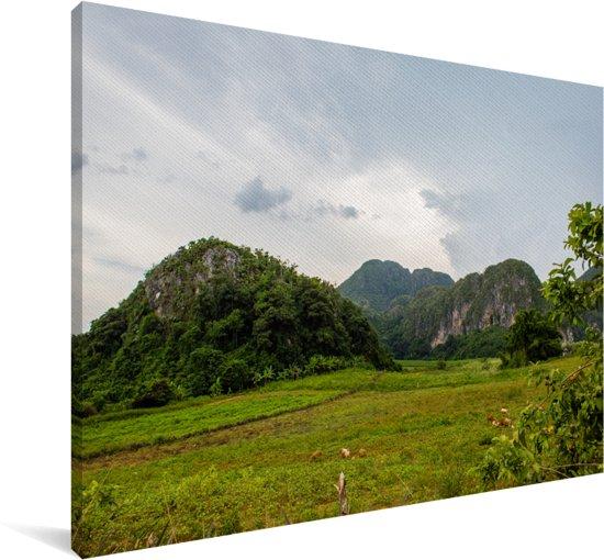Bewolkte lucht boven de Noord-Amerikaanse Vallei de Viñales in Cuba Canvas 90x60 cm - Foto print op Canvas schilderij (Wanddecoratie woonkamer / slaapkamer)
