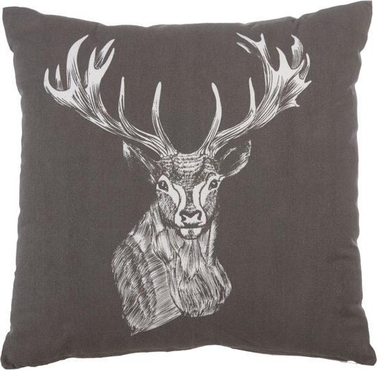 KAAT Amsterdam Deer Drawing - Sierkussen - 40x40 cm - Antraciet