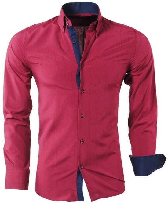 Fit Slim Rood Gestreept Montazinni Overhemd Heren wFgqPIpP