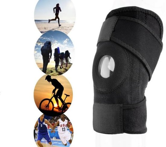 Knie Brace Met Patella Brace - Kniebrace / Kniebandage / Knieband Patella Band - Premium Kniestrap sport, elastisch , zwart
