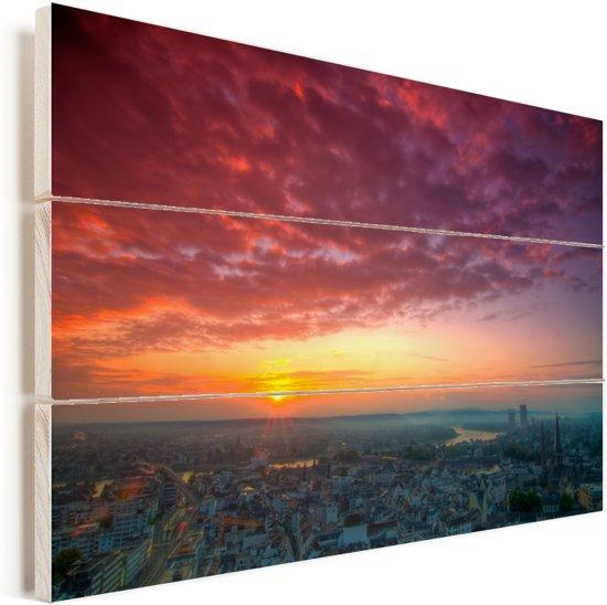 Adembenemende lucht boven Bonn in Duitsland Vurenhout met planken 90x60 cm - Foto print op Hout (Wanddecoratie)
