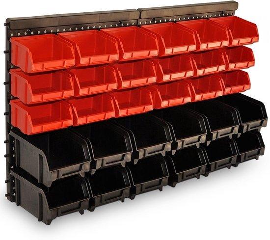 Opbergsysteem, wandrek, opbergkast, stapelbox, opbergbox