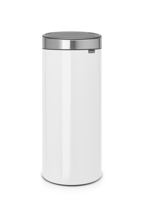 Brabantia Touch Bin 30 Liter Wit.Brabantia Touch Bin New Prullenbak 30 L White Met Matt Steel Fingerprint Proof Deksel