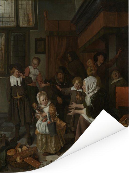 Het Sint Nicolaasfeest - Schilderij van Jan Steen Poster 120x160 cm - Foto print op Poster (wanddecoratie woonkamer / slaapkamer) XXL / Groot formaat!