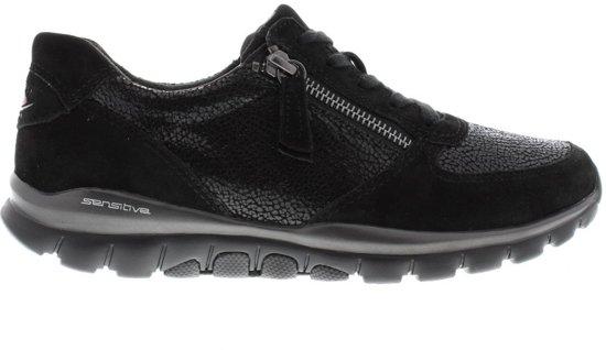 Gabor rollingsoft sensitive 76.968.37 zwart suede lederen wandelsneaker