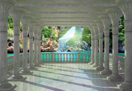 Fotobehang Tropical Lagoon Through The Arches | XXXL - 416cm x 254cm | 130g/m2 Vlies