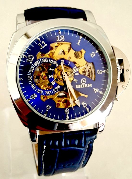 Bolcom Goer Herenhorloge Kast Chroom Band Blauw 49mm