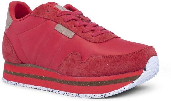 c5ec52665ef bol.com | WODEN Dames Sneakers Nora Ii Plateau - Rood - Maat 38