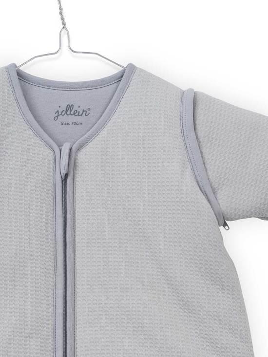 Jollein Tiny waffle Padded Babyslaapzak met afritsbare mouw - 90cm soft grey