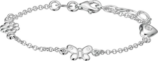 The Kids Jewelry Collection Armband Diverse Bedels 13 + 2 cm - Zilver
