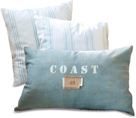 Kussen Blauw Wit.Loberon Kussen Set Van 3 Coast Blauw Wit
