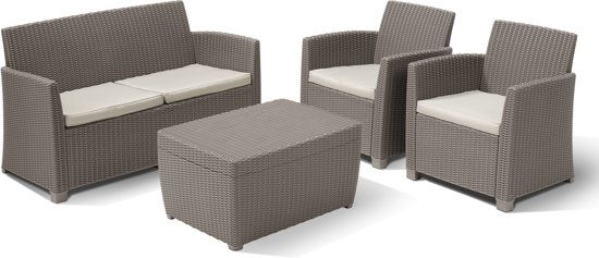 Allibert loungeset corona 4 delig wicker - Salon de jardin bas riverside wicker ...