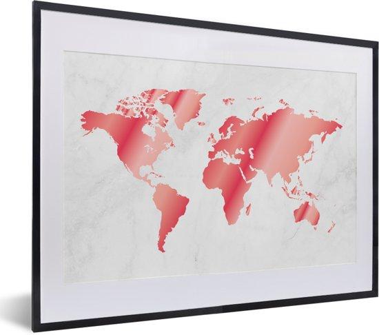 Foto in lijst - Roze-getinte wereldkaart met marmeren achtergrond fotolijst zwart met witte passe-partout klein 40x30 cm - Poster in lijst (Wanddecoratie woonkamer / slaapkamer)