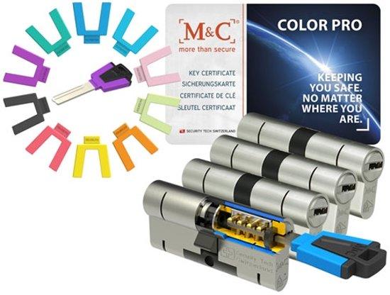 M & C Color Pro Anti kern & cilindertrek cilinder 32/32 set van 4 stuks skg*** gelijksluitend incl. 7 color Pro sleutels.