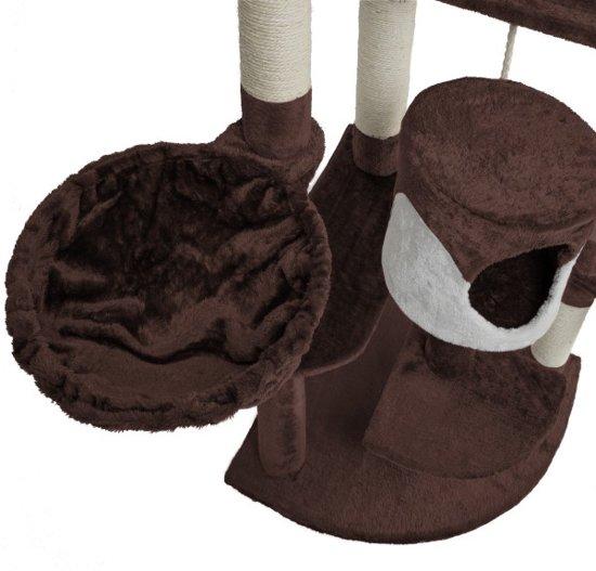 TecTake Katten krabpaal Fippi - 201 cm hoog - bruin wit - 402188