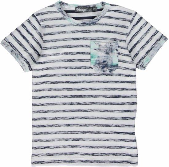 Dirkje Jongens T-shirt - Wit/Mint - Maat 98