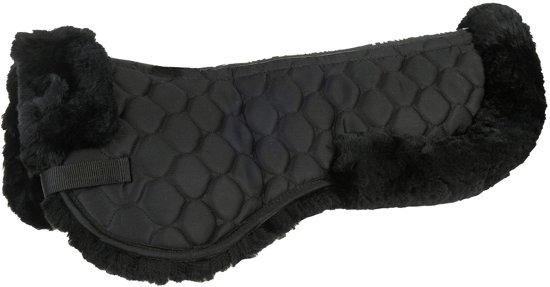 Zadelonderlegger van echt lamsvacht XL zwart