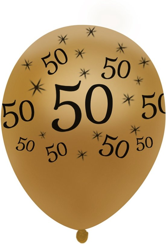Bol Com 10 Ballonnen Goud Met Zwarte Opdruk 50 Jaar Verjaardag