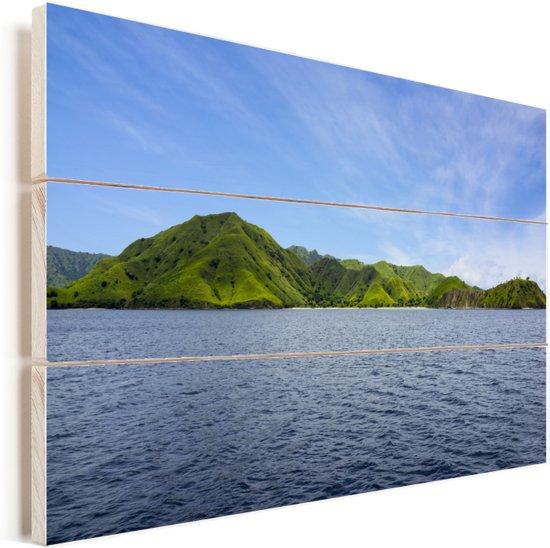 Uitzicht vanaf het water op Komodo eiland Vurenhout met planken 120x80 cm - Foto print op Hout (Wanddecoratie)