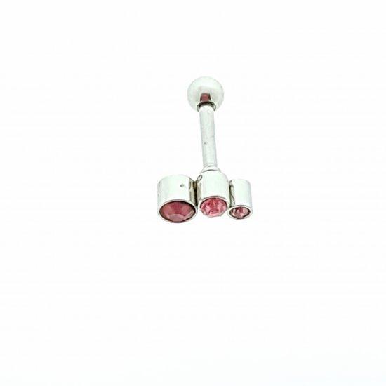 Helixpiercing / tragus piercing met steentjes roze links