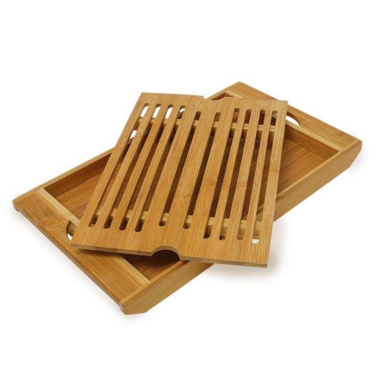 relaxdays Broodsnijplank + kruimelvanger - Broodplank bamboe hout - Snijplank brood.
