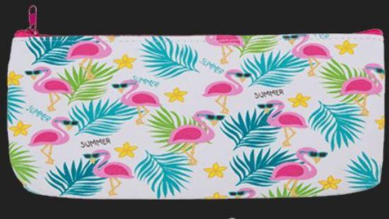 etui Flamingo Summer - PVC pennenhouder make-up tasje pennenetui