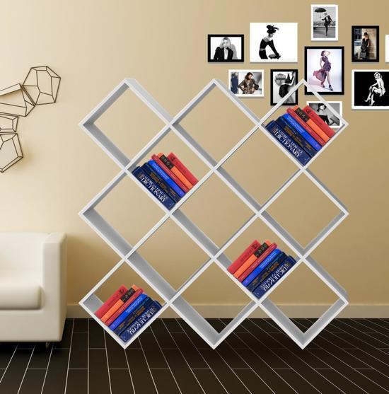 boekenkast vinyl lp kast roomdivider open design nelis 13 vakken wit