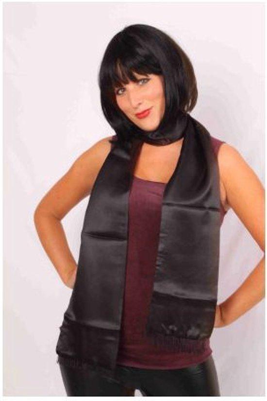 Sjaal satijn zwart 180 cm