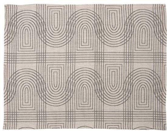 Present Time, Retro Grid - Theedoek - 50x70 cm - Katoen - Wit/grijs