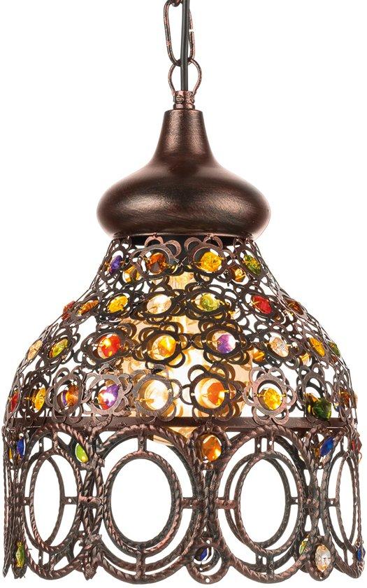 EGLO Vintage Jadida - Hanglamp - 1 Lichts - Ø220mm. - Koperkleurig - Bont