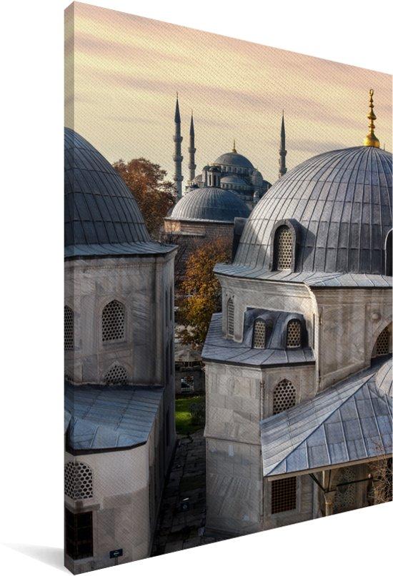 De Moskee koepels van Hagia Sophia Canvas 20x30 cm - klein - Foto print op Canvas schilderij (Wanddecoratie woonkamer / slaapkamer)